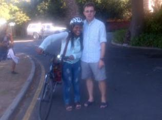 Tim Louw lending me a bicycle: 2013
